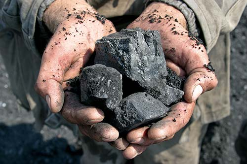 mining. holding coal in hands